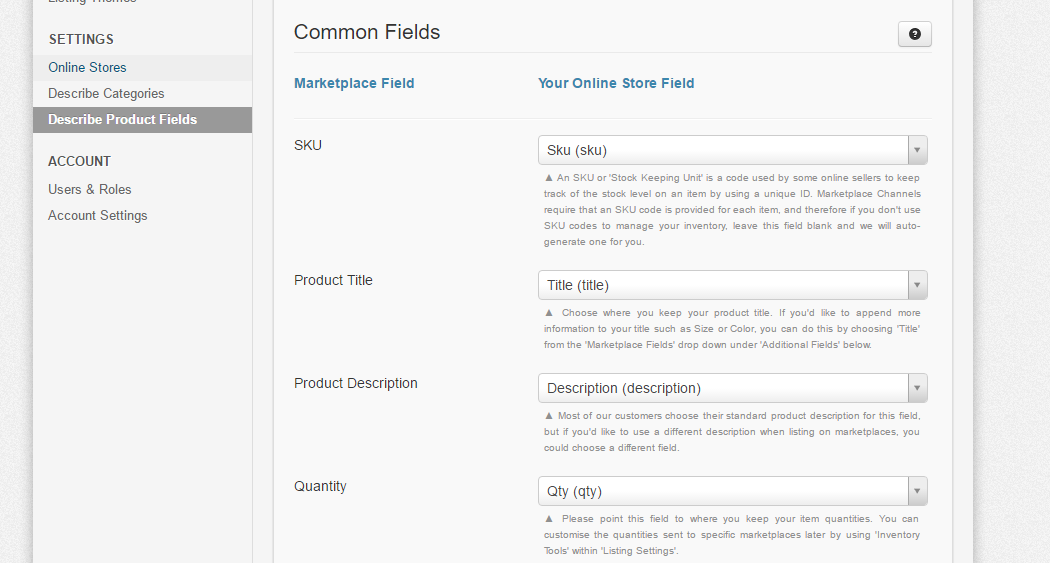 Mapping Your Marketplace Fields - ShopTill-e com