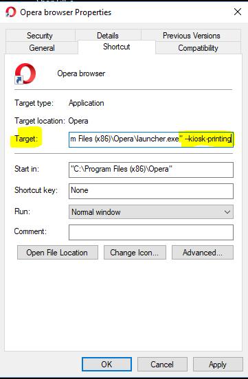 Opera in Kiosk Mode with Silent printing - ShopTill-e com
